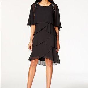 SL Fashions Beaded Capelet Black Dress - 16 - NWT